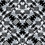 Tribal black white seamless pattern. Geometric tribe background. Abstract ornate ethnic wallpaper. Geometric vector zigzag shapes, figures, rhombus, triangles royalty free illustration