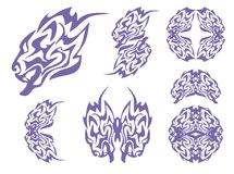 Tribal blue lion head and lions symbols Stock Photography