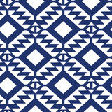Tribal blue and white geometric seamless pattern Stock Photography