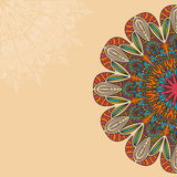 Tribal, Bohemian Mandala background with round ornament. Hand drawn vector illustration Royalty Free Stock Image
