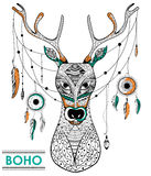 Tribal boho style deer with dream catcher Stock Image