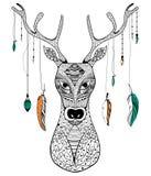 Tribal boho style deer Stock Photo