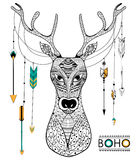 Tribal boho style deer Royalty Free Stock Photos