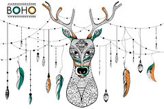 Tribal boho style deer Royalty Free Stock Photography