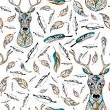 Tribal boho style deer seamless pattern Royalty Free Stock Photo