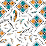 Tribal boho style feather seamless pattern Royalty Free Stock Photography