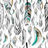 Tribal boho style feather seamless pattern Stock Image