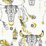 Tribal boho style feathers. Royalty Free Stock Images