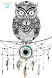 Tribal boho style owl with dream catcher royalty free illustration