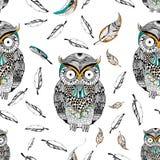 Tribal boho style owl seamless pattern Stock Photos