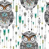 Tribal boho style owl seamless pattern Stock Images