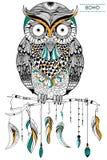 Tribal boho style owl Royalty Free Stock Images