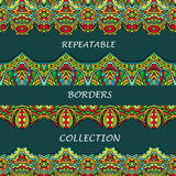 Tribal borders collection in bright colors. Abstract ethnic pattern for repeatable frame designs. Set of seamless fancy ornaments. Aztec style. Vector Stock Images