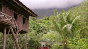 Tribal borneo houses stock video footage