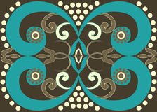 Tribal brown spiral pattern. Swirl and circle design in turquoise, coffee and cream on a chocolate brown background suitable for rugs, runners, interiors Royalty Free Stock Photography