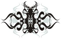 Tribal bug. Black vector bug isolated on a white background Royalty Free Stock Photography