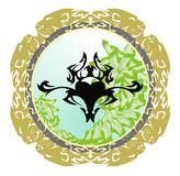 Tribal bug in a round lions frame Stock Images