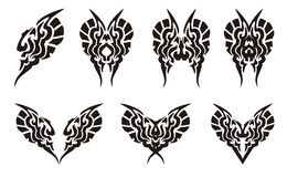 Tribal butterflies and hearts tattoos. Tribal elements set. Black on the white Stock Image