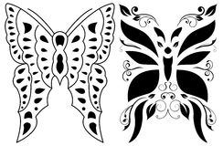 Tribal butterflies - tattoo - vector format. Tribal butterflies - tattoo isolated on white, vector format available Royalty Free Stock Photography