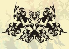 Tribal butterfly on a retro background. The frightening black butterfly on an abstract background Stock Photo