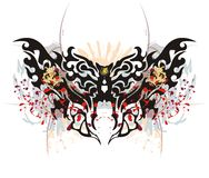 Tribal butterfly splashes with tiger head Stock Photography