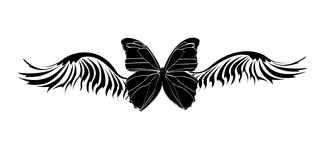Tribal butterfly tattoo. Illustration background Royalty Free Stock Image