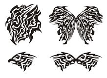 Tribal butterfly tattoo and eagle head Royalty Free Stock Photography