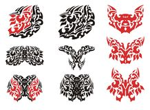 Tribal butterfly wing tattoo and butterflies tattoos Stock Photo