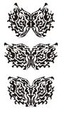 Tribal butterfly wings. Black on the white Royalty Free Stock Photography