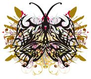 Tribal butterfly wings with colorful floral splashes Stock Photography