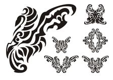 Tribal butterfly wings elements Stock Photo