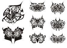 Tribal butterfly wings tattoo in black and white tones Royalty Free Stock Photo