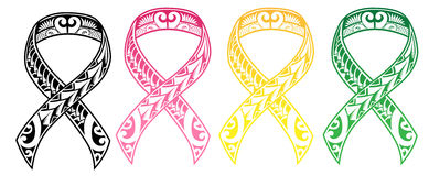 Tribal Cancer Ribbon Royalty Free Stock Image