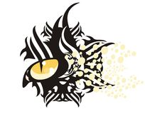Tribal cat eye. With circles ready for a tattoo, graphics on the vehicle, also for labels, stickers and emblems, T-shirt designs Royalty Free Stock Photography