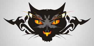 Tribal cat head on a gray background Stock Photos