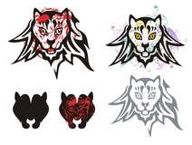 Tribal cat's head symbols Royalty Free Stock Photography