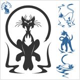 Tribal Cats for Tattoo - vector set. Stock Photos