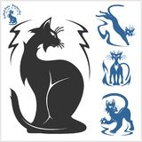 Tribal Cats for Tattoo - vector set. Stock Photo