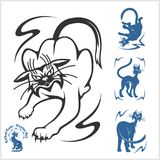 Tribal Cats for Tattoo - vector set. Stock Image