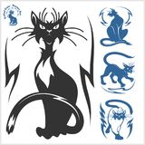 Tribal Cats for Tattoo - vector set. Stock Images
