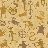 Tribal Cave Painting. Cave Painting with animals and hunters Royalty Free Stock Images