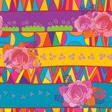 Tribal ceramic mix rose seamless pattern Royalty Free Stock Photo
