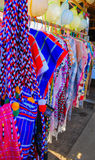 Tribal clothing. Colorful clothes in souvenir shop tribal stock photo