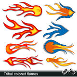 Tribal colored flames design. Vector illustration of eight different tribal colored flames design Stock Image
