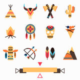 Tribal colorful icons set Royalty Free Stock Photography