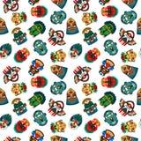 Tribal colorful masks seamless pattern Stock Image