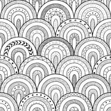 Tribal contour seamless pattern, indian or african ethnic patchwork style. Round tiles with hand drawn texture. Stock Image