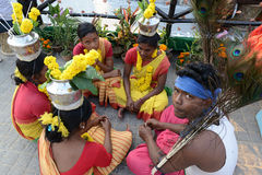 Tribal Culture. Traditional welcome to guest ; Santhal dancers taking rest at the Kolkata book fair Royalty Free Stock Image