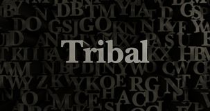 Tribal - 3D rendered metallic typeset headline illustration. Can be used for an online banner ad or a print postcard Royalty Free Stock Images