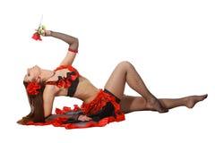 Tribal-dance com um vermelho levantou-se Fotografia de Stock